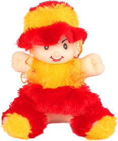Crazeis Cute Soft Baby Doll With Cap (Red and Yellow ,34 CM)
