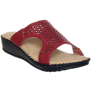 Clymb Ortho-04 Red  Perfect Doctor Sole Orthopaedic Slippers For Women's