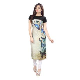 Glance Designs Woman's Printed Straight Cut Crepe Kurti45