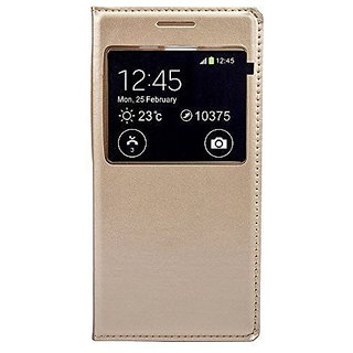 BRAND FUSON Durable Premium Gold Leather Caller ID Flip Case Cover For Samsung Galaxy J2 Gold Color