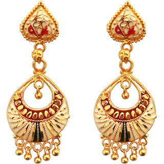 JewelMaze Maroon Meenakari Gold Plated Dangler Earrings-1311774