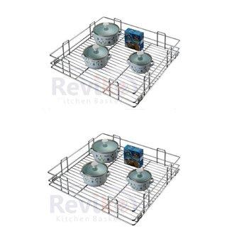 Reviko Plain modular kitchen basket size  15x20x4 inch ( set of 2 ) All kitchen cabinet use