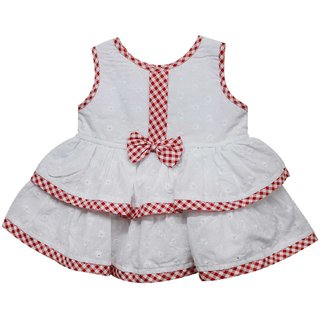 Tumble Bow Applique Baby Sleeveless Frock - Red