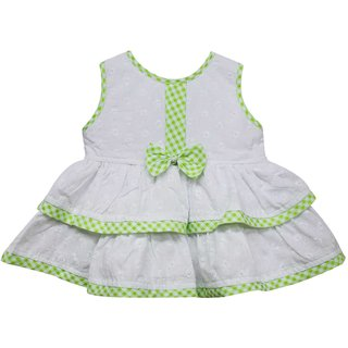 Tumble Bow Applique Baby Sleeveless Frock - Green