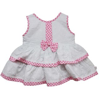 Tumble Bow Applique Baby Sleeveless Frock - Pink