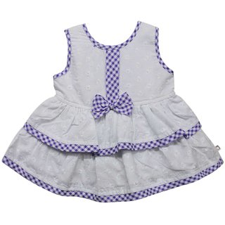 Tumble Bow Applique Baby Sleeveless Frock - Purple