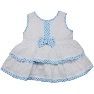Tumble Bow Applique Baby Sleeveless Frock - Light Blue