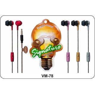 Signature VM-78 Bright Sound In-Ear wired Headphone Headset with Mic