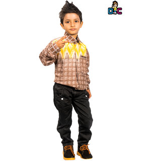DressCastle Self-Design Check Boy Shirt
