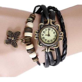 Unique Designer Vintage Leather Black Butterfly Bracelet Watch for Girls, Women