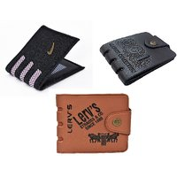 Yuvi Creation Nok Ap Brown 501 Wallet Pack of 3