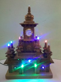 Teak Wood Table Clock with LEDs