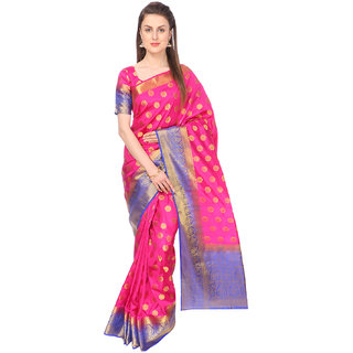 Ashika Woven Fuchsia Traditional Tussar Silk Saree for Women with Blouse Piece