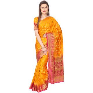 Ashika Woven Dark Orange Traditional Tussar Silk Saree for Women with Blouse Piece