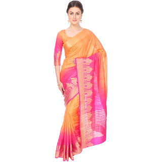 Ashika Shaded Coral & Deep Pink Bonga Silk  Ethnic Saree for Women with Blouse Piece