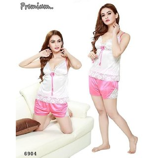 Hotnspicy Nightwear Set Of Two pc For Women/Girls ( Top and Short )