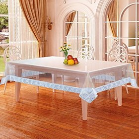 Deerosita Dining Table Cover with Silver Lace (4 SEATER Transparent)
