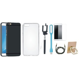 Moto G4 Silicon Anti Slip Back Cover with Ring Stand Holder, Free Selfie Stick, Tempered Glass, LED Light and AUX Cable