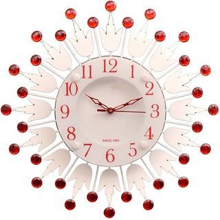 NK ENTERPRISES Metal-Glass Decorative Analog Wall Clock  (Red, With Glass)