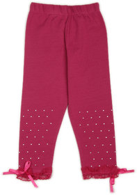 Studded Leggings with Lace and Bow- Fuschia (2-3 yrs)