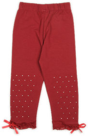 Studded Leggings with Lace and Bow- Maroon (2-3 yrs)