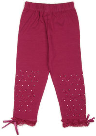 Studded Leggings with Lace and Bow- Magenta (2-3 yrs)