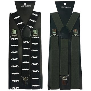 Atyourdoor Y- Back Suspenders for Men(Moustache Green Color)