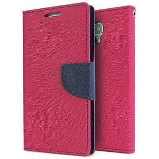 Dairy Wallet Flip Case Cover for Reliance Lyf Flame 2 - PINK