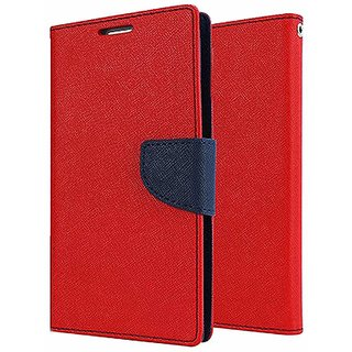 Dairy Wallet Flip Case Cover for Reliance Lyf Wind 1 - RED