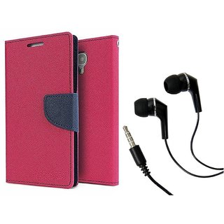 Dairy Wallet Flip Case Cover for Lenovo A7700 - PINK With Raag Earphone (3.5mm jack)
