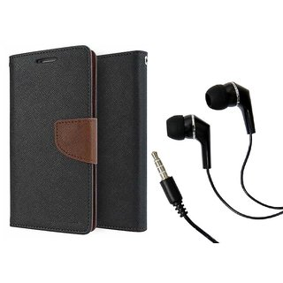 Dairy Wallet Flip Case Cover for Oppo F1S - BROWN With Raag Earphone (3.5mm jack)