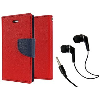 Dairy Wallet Flip Case Cover for Reliance Lyf Wind 5 - RED With Raag Earphone (3.5mm jack)