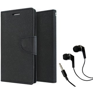 Dairy Wallet Flip Case Cover for Reliance Lyf Wind 6 - BLACK With Raag Earphone (3.5mm jack)