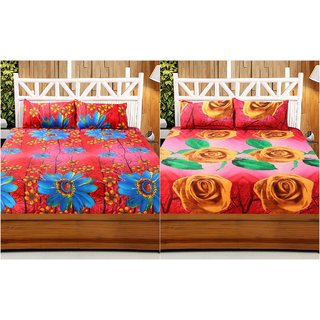 f359cc6ece Buy Welhouse India 3D Printed Set Of 2 Double bedsheet with 4 Pillow Covers  Online - Get 32% Off
