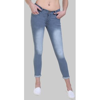 Klick 2 Style Women's Slim Fit Faded Washed Jeans Light Grey
