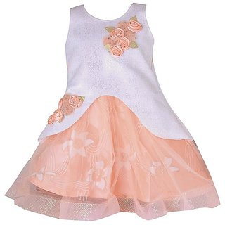 a0f06e92e96e Buy Kids Girls Birthday Party wear Frock Dress for Baby Girl Kids Orange  Scuba Online - Get 35% Off