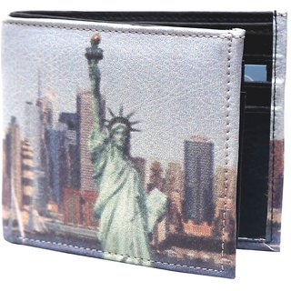 Holboro Statue Of Liberty Printed Multicolor PU Leather Mens Wallet