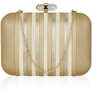Kleio Designer Elegant Striped Spacious Chic Party Box Clutch with Sling for Women and Girls ( Gold )