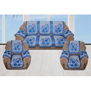 Style Your Home Silk Fabric Sofa Cover With 6 Pcs Arms Covers For 5 Seater Sofa Set = 3+1+1  ( Pack Of - 16 Pcs)