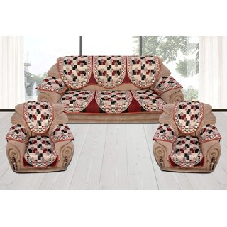 Style Your Home Cotton Sofa Cover With 6 Pcs Small Size  Arms Covers For 5 Seater Sofa Set  = 3+1+1 ( Pack Of - 16 Pcs)