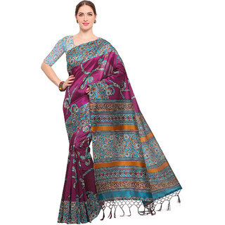 Swaron Women's Magenta and Multi Colored Printed Casual Wear Poly Silk Saree with Unstitched Blouse
