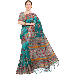 Swaron Women's Turquoise and Multi Colored Printed Casual Wear Poly Silk Saree with Unstitched Blouse