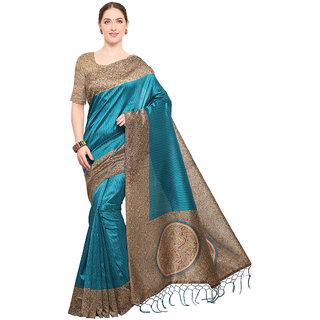Swaron Women's Blue and Multi Colored Printed Casual Wear Poly Silk Saree with Unstitched Blouse