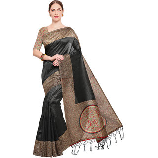 Swaron Women's Black and Multi Colored Printed Casual Wear Poly Silk Saree with Unstitched Blouse