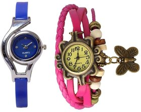 Round Dial Multi Leather & PU Analog Watch For Women (Combo of 2)