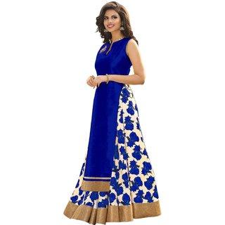 Aika Womens Printed Banglori Silk Roshani Blue Semi-Stitched Lehenga