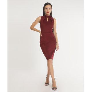 ba880d1f127e Buy AARA Maroon Solid A Line Dress Dress For Women Online - Get 28% Off