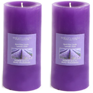Hosley Set of 2 Lavender Fields 6Inchs Pillar Candles