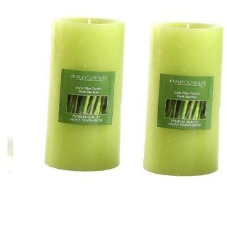 Hosley Set of 2 Fresh Bamboo 6Inchs Pillar Candles