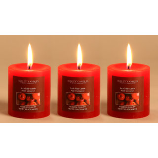 Hosley Set of 3 Apple Cinnamon 3Inchs Pillar Candles